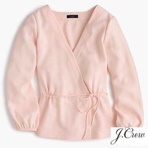 J. CREW Blush Pink Faux Wrap Drapey Crepe Blouse